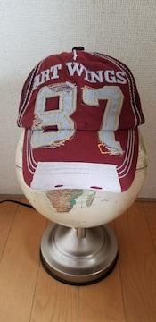 茶色ブラウングレーロゴ刺繍ステッチクラッシュ綿野球帽キャップ