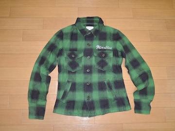 マーブルズMARBLESチェックシャツジャケットS緑黒ネルTMT