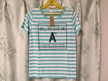 新品未使用 水色ボーダーマリン系Tシャツ半袖 ライトブルー