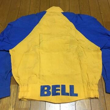 ヴィンテージ BELL ベル ナイロンライダースジャケット 青/黄 M