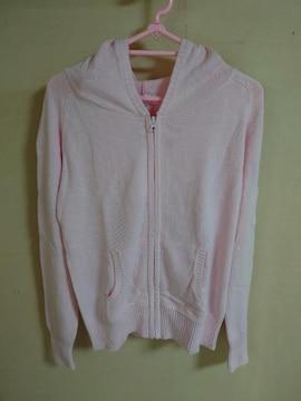 新品 ピンク ニット パーカー M