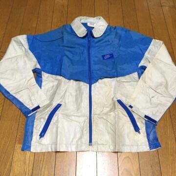 ヴィンテージ USAナイキ フード付ナイロンジャケット 青/銀 S