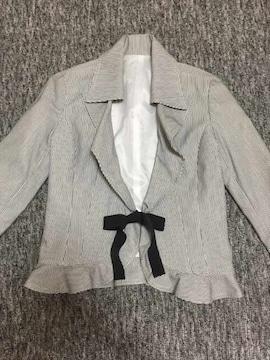 リボン付 ストライプ デザインジャケット フリル&シェイプ 9号