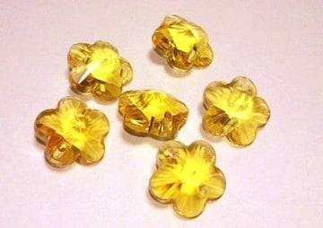 サンキャッチャー花型ガラスパーツ6個イエロー