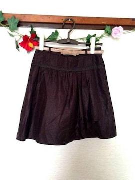 プライドグライド★ブラウン ラメ リボンベルト フレア スカート