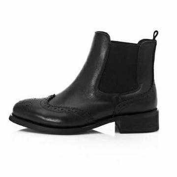 メダリオンサイドゴア本革ブーツ(ブラック) 24.5cm