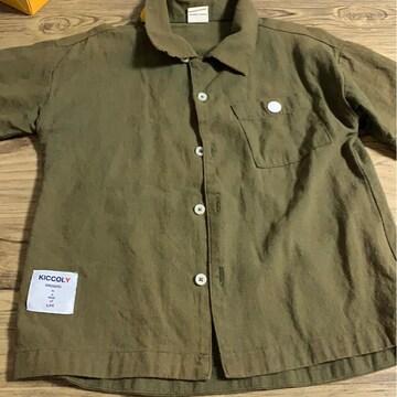 カーキ☆kids☆襟デザイン★シャツ★サイズ110