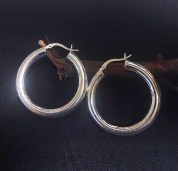 シルバー製フープイヤリング(1ペア)