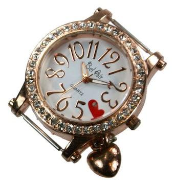 ラインストーン入りハートの腕時計