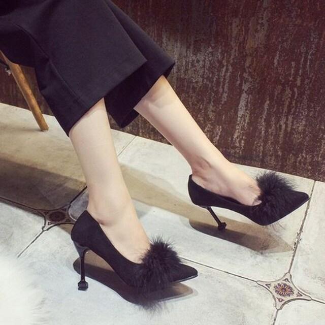 TK130即決 新品 ファー パンプス 黒 23.5 プールサイド R&E ザラ 好きに < 女性ファッションの