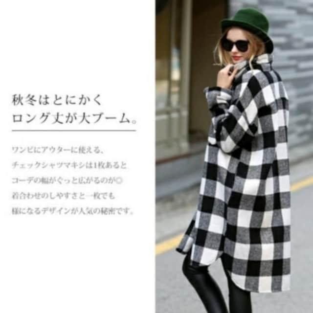 L~3L/新品☆ネルシャツ/ロングシャツチュニック17 < 女性ファッションの