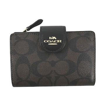◆新品本物◆コーチ シグネチャー ミディアム  2つ折財布(BK/BR)『C0082』◆