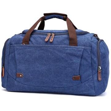 ボストンバッグ 旅行鞄 超大容量 キャンバス 2way ネイビー