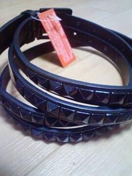 A−159★新品★2連スタッズベルト ブラック