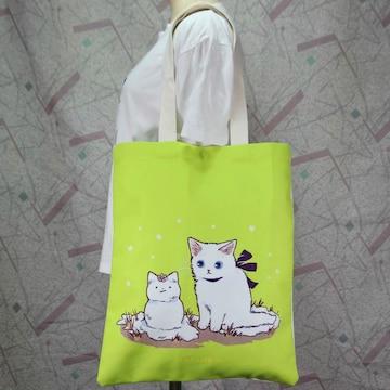 ◆猫大好き◆猫柄トートバッグ リネン地黄緑 BA07