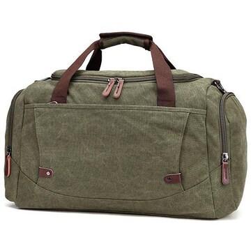ボストンバッグ 旅行鞄 超大容量 キャンバス 2way グリーン