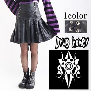 【新品/Drug honey/L】スピンドルデザインプリーツ合皮スカート