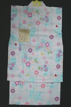 新品★子供高級浴衣★女の子100白地格子ブルー花ゆかた