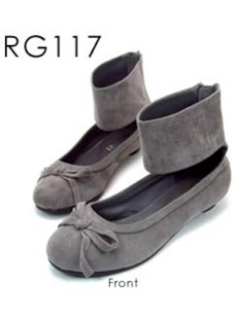 新品<REGOLITH>バックジップアンクルバレエシューズ合成皮革(グレーSS)reg117  < 女性ファッションの