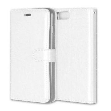 iPhone7/8Plus 手帳型収納レザーケース+強化保護フィルム 白色