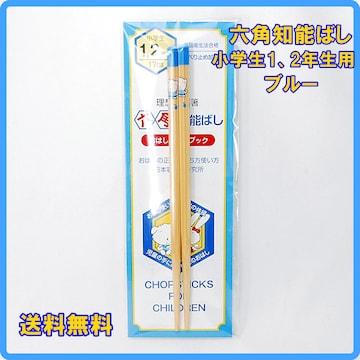 正規品 日本製 六角知能箸 小学生1、2年生用 17cm ブルー