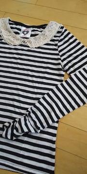 襟クロシェボーダー柄長袖Tシャツ☆160 ホワイト×ブラック