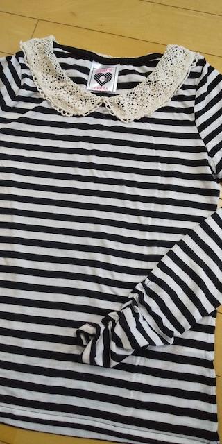 襟クロシェボーダー柄長袖Tシャツ☆160 ホワイト×ブラック < キッズ/ベビーの