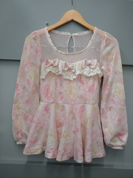 LIZ LISA☆薔薇柄ペプラム長袖トップス
