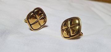 正規レア シャネル クラシック クローバー ゴールドカフス 金 カフリンクス フラワーラウンドボタン