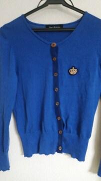 ブルー&ネイビー王冠刺繍カーデ◆ロゴボタン付◆85%オフ/3日21時迄価格即決