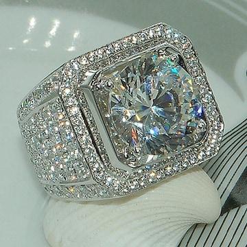 プラチナpt850PTP ダイヤモンドCZ 印台リング指輪
