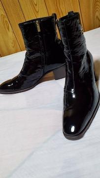正規美 レア イヴサンローラン YSL エナメルジョニー ブーツ黒 6.5ヒール 41 26 メンズ