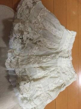 Ank Rouge☆白☆ミニアンティーク風スカート☆ベージュ☆生成り