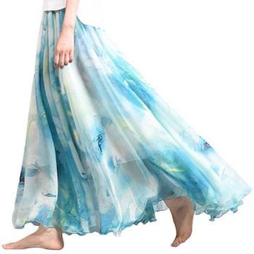 裾広幅★ヘムライン★花柄シフォン★ロングスカート(ブルー)