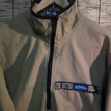 古着 KAVU カブー スローシャツ ハーフジップ カーキ M MADE IN USA