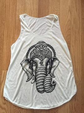 新品 ゾウ 柄物 タンクトップ 象 ぞう アニマル タンクトップ ノースリーブ 白 ホワイト