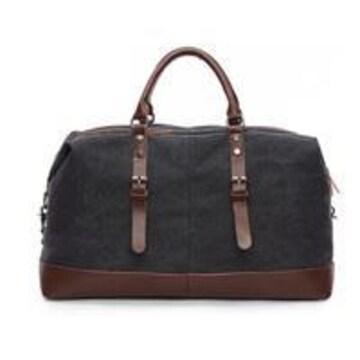 ボストンバッグ 旅行鞄 超大容量 キャンバス 底固い 黒