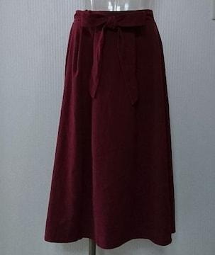 しまむら★TR ツイル ウエストリボン イレヘム スカート