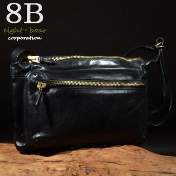 ◆牛本革 デザイナーズ 薄型ショルダーバッグ メンズ◆黒k12