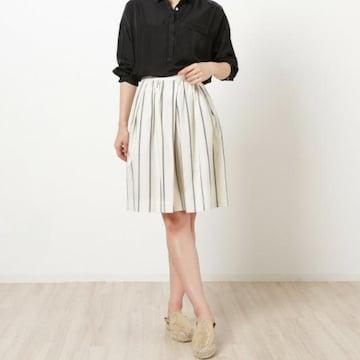 新品*ViS*ストライプ柄フレアスカート