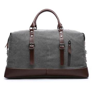 ボストンバッグ 旅行鞄 超大容量 キャンバス 底固い グレー