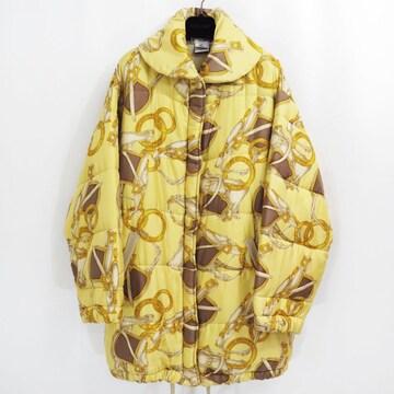 80s CELINE セリーヌ スカーフ ロゴ 中綿 ダウン コート オールド ビンテージ