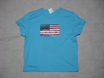 70 女 ラルフローレン 青 半袖Tシャツ L