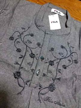 新品★『FILA』刺繍可愛い〜!シャツチュニック=グレー系=L=