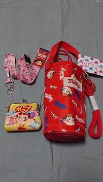 ☆ペコちゃん☆ペットボトルホルダー&ネックストラップ&ミニガマグチ☆新品未使用☆