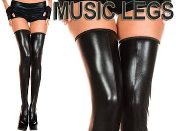 A193)MusicLegsウェットルックサイハイタイツ黒ボンテージ女王様ダンス衣装ダンサーB系