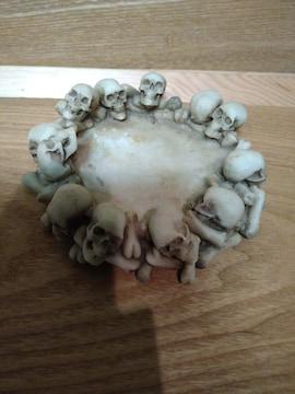 中古(未使用)ドクロ骸骨スカル灰皿 陶器製