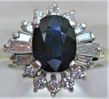 Pt900プラチナ リング 指輪 サファイヤ 1.63ct ダイヤ 0.65ct