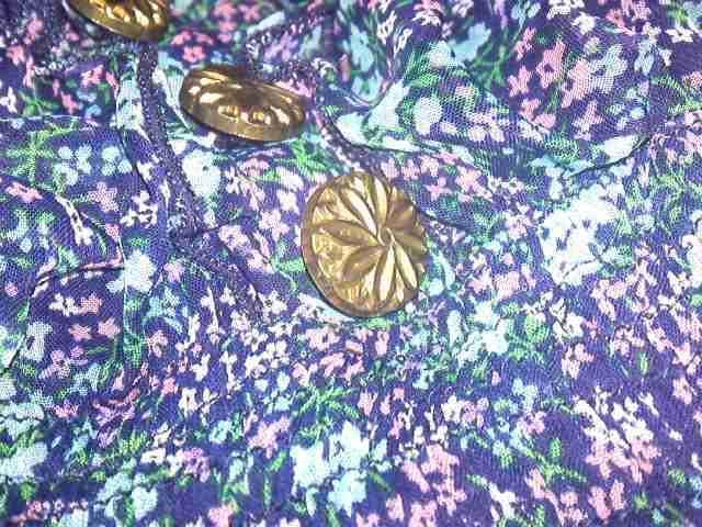 ネイビーブルー 小花柄 キャミミニワンピース チュニック < 女性ファッションの