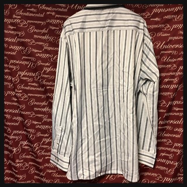 3L・ネクタイ付きツヤストライプシャツ新品白/MC03P403-004 < 男性ファッションの